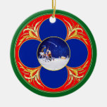 Nativity & Don Quixote fantasy - by Cervantes Double-Sided Ceramic Round Christmas Ornament