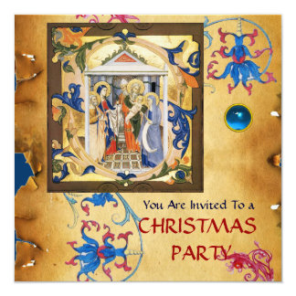 NATIVITY FLORAL CHRISTMAS PARCHMENT WITH BLUE GEM CARD
