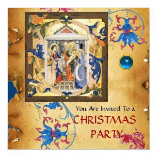 NATIVITY FLORAL CHRISTMAS PARCHMENT WITH BLUE GEM CARD