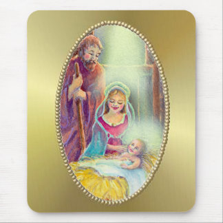 NATIVITY & GOLD by SHARON SHARPE Mouse Pad
