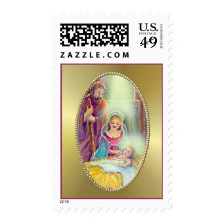 NATIVITY & GOLD by SHARON SHARPE Postage Stamp