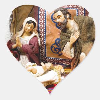 Nativity Heart Sticker