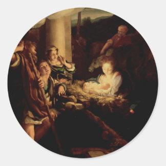 Nativity - Holy Night - Correggio - Renaissance Classic Round Sticker
