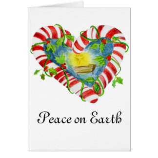 Nativity in Candy Cane Heart Card