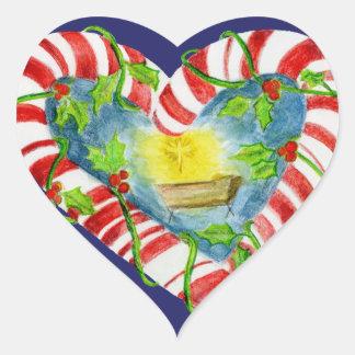 Nativity in Heart Shaped Peppermnt Heart Sticker