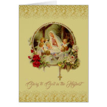 Nativity Mary Jesus Rosary Angels Red Roses Card