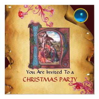 NATIVITY MONOGRAM CHRISTMAS PARCHMENT Blue Gem Card