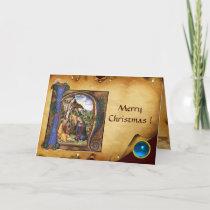 NATIVITY MONOGRAM CHRISTMAS PARCHMENT Blue Gem Holiday Card