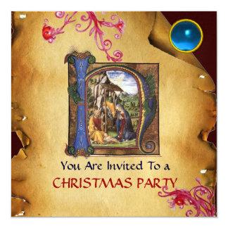 NATIVITY MONOGRAM CHRISTMAS PARCHMENT Blue Gem Ice Card