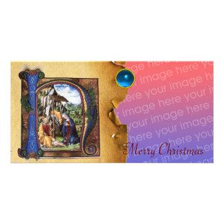 NATIVITY MONOGRAM CHRISTMAS PARCHMENT Blue Gem Photo Card