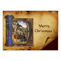 NATIVITY MONOGRAM CHRISTMAS PARCHMENT CARD