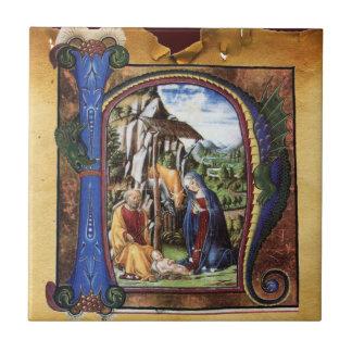 NATIVITY MONOGRAM CHRISTMAS PARCHMENT CERAMIC TILE