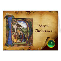 NATIVITY MONOGRAM CHRISTMAS PARCHMENT Green Gem Card