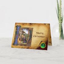 NATIVITY MONOGRAM CHRISTMAS PARCHMENT Green Gem Holiday Card