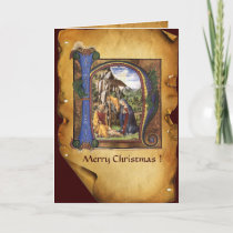 NATIVITY MONOGRAM CHRISTMAS PARCHMENT HOLIDAY CARD