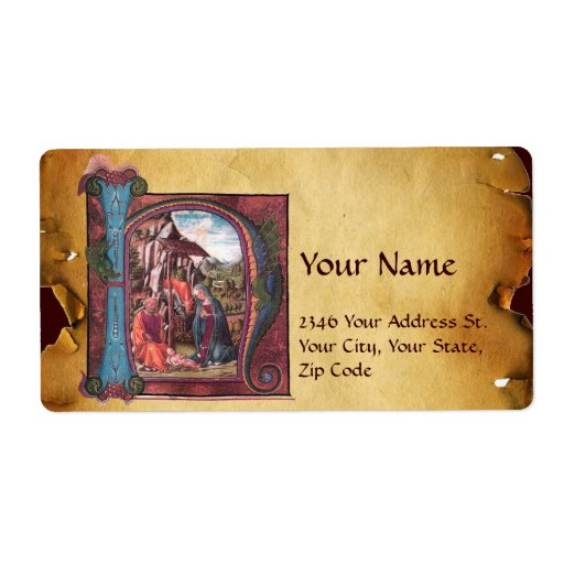 NATIVITY MONOGRAM CHRISTMAS PARCHMENT PERSONALIZED SHIPPING LABEL