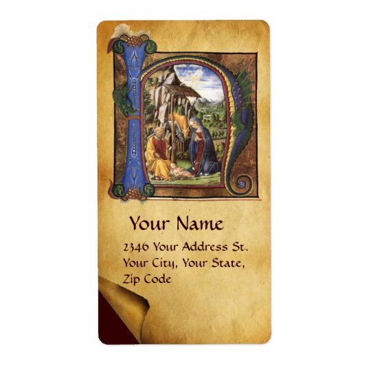 NATIVITY MONOGRAM CHRISTMAS PARCHMENT LABEL