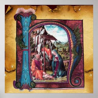 NATIVITY MONOGRAM CHRISTMAS PARCHMENT POSTER