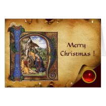 NATIVITY MONOGRAM CHRISTMAS PARCHMENT Red Ruby Gem Card