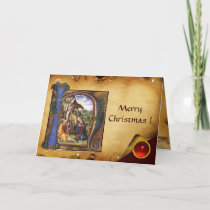 NATIVITY MONOGRAM CHRISTMAS PARCHMENT Red Ruby Gem Holiday Card