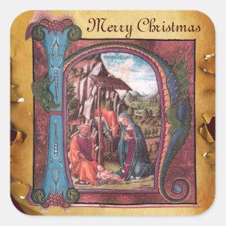 NATIVITY MONOGRAM CHRISTMAS PARCHMENT SQUARE STICKER