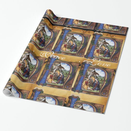 NATIVITY MONOGRAM CHRISTMAS PARCHMENT WRAPPING PAPER