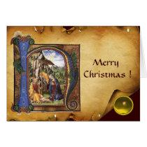 NATIVITY MONOGRAM CHRISTMAS PARCHMENT Yellow Gem Card