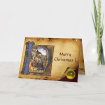 NATIVITY MONOGRAM CHRISTMAS PARCHMENT Yellow Gem Holiday Card