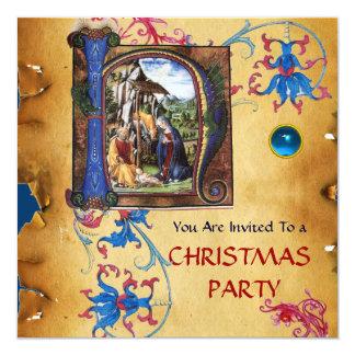 NATIVITY MONOGRAM FLORAL CHRISTMAS PARCHMENT CARD