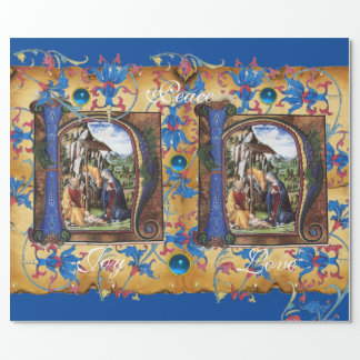 NATIVITY MONOGRAM FLORAL CHRISTMAS PARCHMENT WRAPPING PAPER