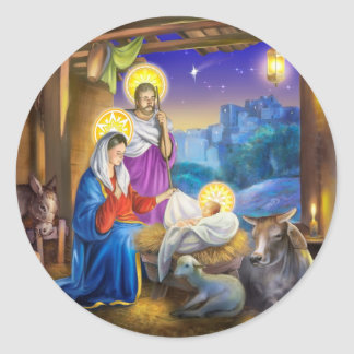 Nativity of Jesus with Josef and Mary, cows, donky Classic Round Sticker