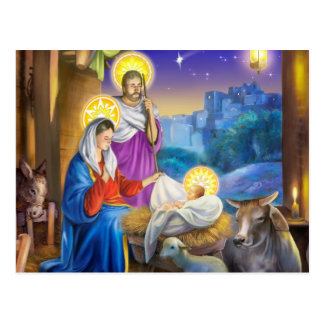 Nativity of Jesus with Josef and Mary, cows, donky Postcard