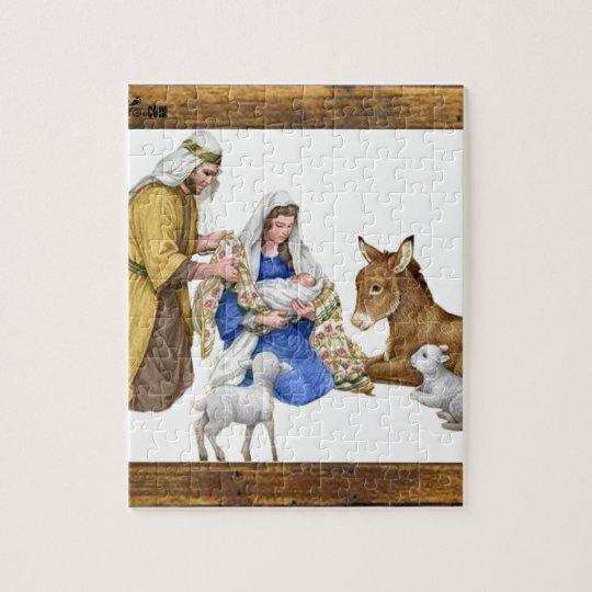 NATIVITY OF JESUSCHRIST WOOD FRAME 18 CUSTOMIZABL JIGSAW PUZZLE ...