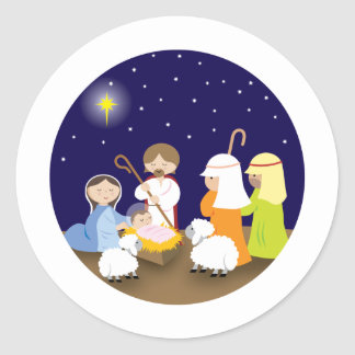 Nativity of the Lord Round Stickers