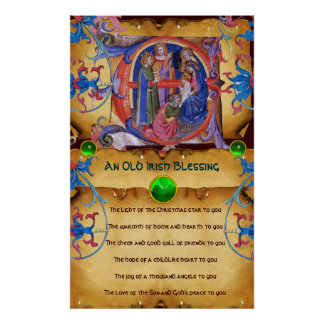 NATIVITY Old Irish Christmas Blessing Parchment Poster
