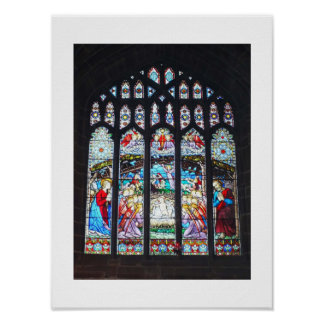 Nativity on a stained glass window poster