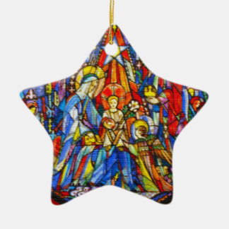 Nativity Painted Stained Glass Style Ceramic Ornament