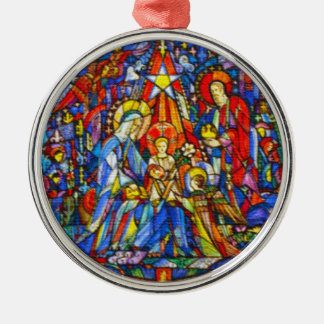 Nativity Painted Stained Glass Style Round Metal Christmas Ornament