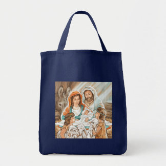 Nativity Painting with Little Shepherd Boys Tote Bag