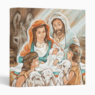 Nativity Painting with Little Shepherd Boys 3 Ring Binder