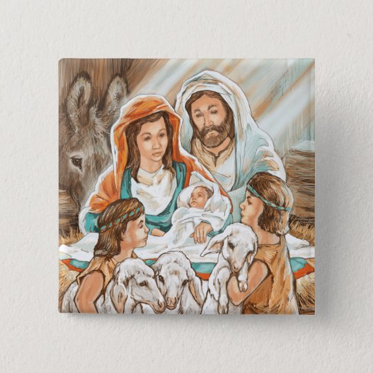 Nativity Painting with Little Shepherd Boys Button