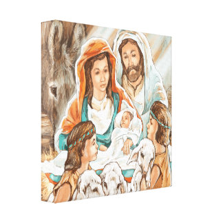 Nativity Painting with Little Shepherd Boys Stretched Canvas Prints