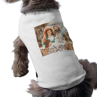 Nativity Painting with Little Shepherd Boys Pet T-shirt