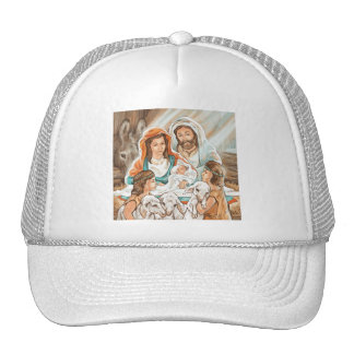 Nativity Painting with Little Shepherd Boys Mesh Hats