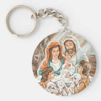 Nativity Painting with Little Shepherd Boys Key Chains