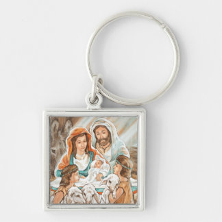 Nativity Painting with Little Shepherd Boys Keychains