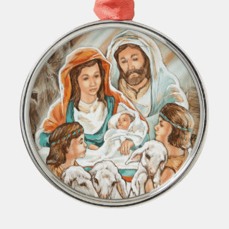 Nativity Painting with Little Shepherd Boys Metal Ornament