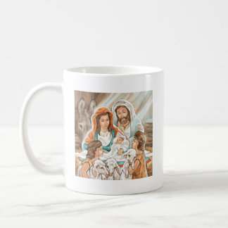 Nativity Painting with Little Shepherd Boys Coffee Mugs