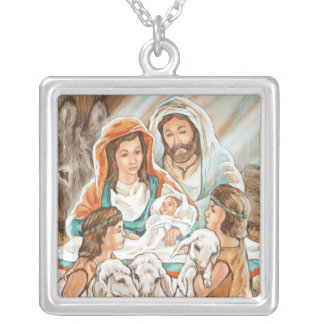 Nativity Painting with Little Shepherd Boys Personalized Necklace