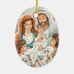 Nativity Painting with Little Shepherd Boys Double-Sided Oval Ceramic Christmas Ornament